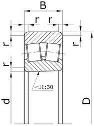 Чертеж-схема подшипника 41131/1400
