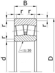 Чертеж-схема подшипника 4153752Н