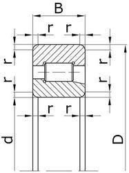 Чертеж-схема подшипника 42308 (NJ308)