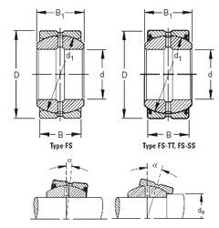 Чертеж-схема подшипника 45FS68 Timken
