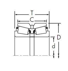 Чертеж-схема подшипника 466-S/452D+X1S-466-S Timken