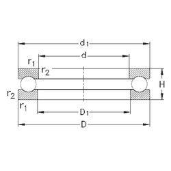 Чертеж-схема подшипника 51212