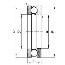 Чертеж-схема подшипника 51418 M