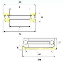 Чертеж-схема подшипника 53203 ISO