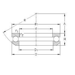 Чертеж-схема подшипника 53232