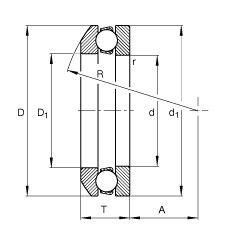 Чертеж-схема подшипника 53318