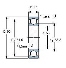 Чертеж-схема подшипника 6011 ISO