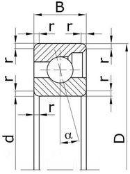 Чертеж-схема подшипника Подшипник6012Е