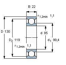 Чертеж-схема подшипника 6017 DDU
