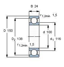 Чертеж-схема подшипника 6020 ZZ
