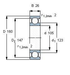 Чертеж-схема подшипника 6021 DDU