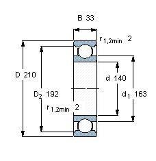 Чертеж-схема подшипника 6028 M