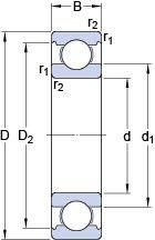 Чертеж-схема подшипника 6030