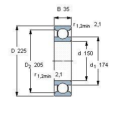 Чертеж-схема подшипника 6030 Z