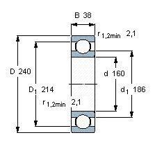 Чертеж-схема подшипника 6032 ZZ
