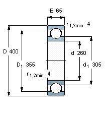 Чертеж-схема подшипника 6052 M