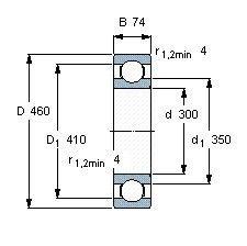 Чертеж-схема подшипника 6060 M