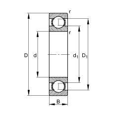 Чертеж-схема подшипника 61801