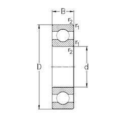 Чертеж-схема подшипника 61816