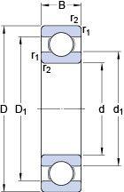 Чертеж-схема подшипника 61828