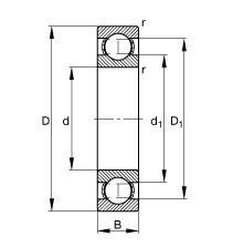 Чертеж-схема подшипника 61828 ZZ