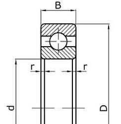 Чертеж-схема подшипника 6-205 Ю