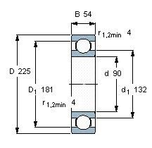 Чертеж-схема подшипника 6418 M