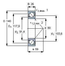 Чертеж-схема подшипника 7216 BW