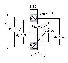 Чертеж-схема подшипника 7219 BMP