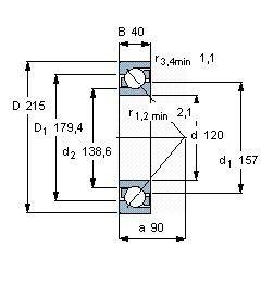 Чертеж-схема подшипника 7224 BCBM