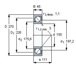 Чертеж-схема подшипника 7230 BCBM