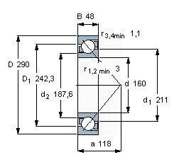 Чертеж-схема подшипника 7232 BCBM
