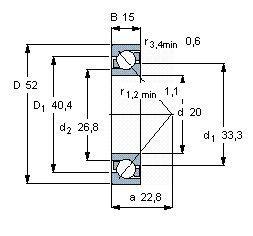 Чертеж-схема подшипника 7304 BECBP