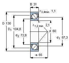Чертеж-схема подшипника 7312 BWG