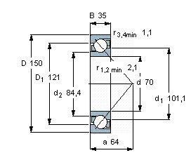 Чертеж-схема подшипника 7314 BECBM