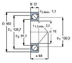 Чертеж-схема подшипника 7315 BW