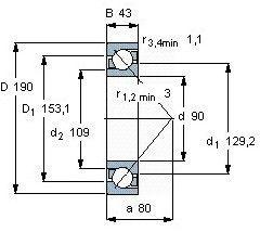 Чертеж-схема подшипника 7318 BECBM