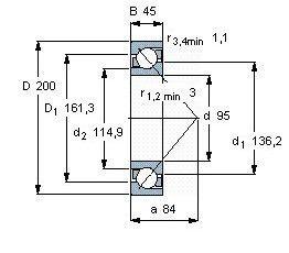 Чертеж-схема подшипника 7319 BECBP