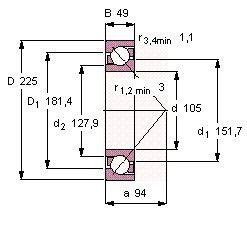Чертеж-схема подшипника 7321 BECBP
