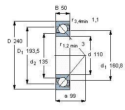 Чертеж-схема подшипника 7322 BW