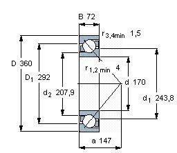 Чертеж-схема подшипника 7334 BCBM