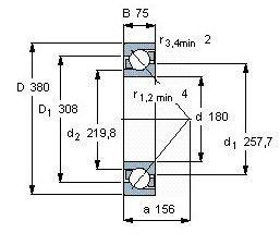 Чертеж-схема подшипника 7336 BCBM