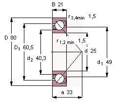 Чертеж-схема подшипника 7405 BCBM
