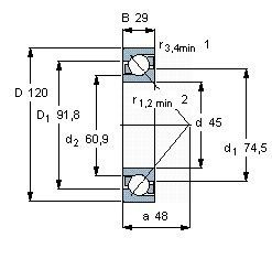 Чертеж-схема подшипника 7409 BCBM