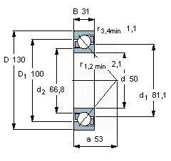 Чертеж-схема подшипника 7410 BCBM