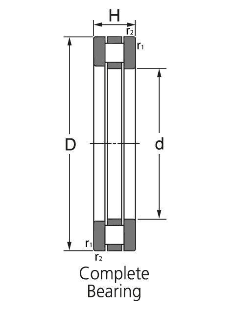 Чертеж-схема подшипника 81214