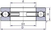 Чертеж-схема подшипника 8128