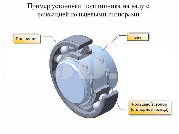 Фиксайция подшипника стопорными кольцами